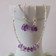 Donna Fitzpatrick Amethyst Briolett Necklace and Earrings by Donna Fitzpatrick