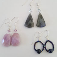 Donna Fitzpatrick Pink Agate, Labradorite, & Sapphire and Spinel earrings by Donna Fitzpatrick