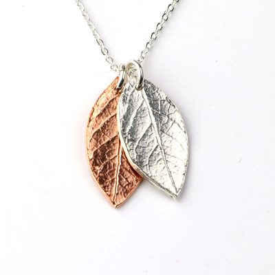 Falling Leaves copper and silver leaves necklace by Kimberly Paige