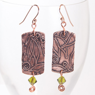 Copper Leaf earrings with Swarovski crystal by Kimberly Paige