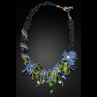 Blue Evening beaded necklace by Lauren McCarthy