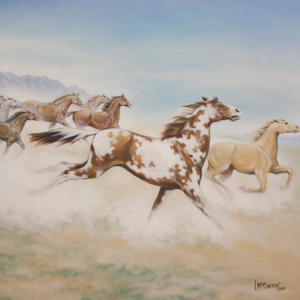 Acrylic painting of horses by Lauren McCarthy