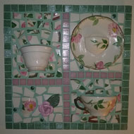 Pat Stacconi - teacup mosaic by Pat Stacconi